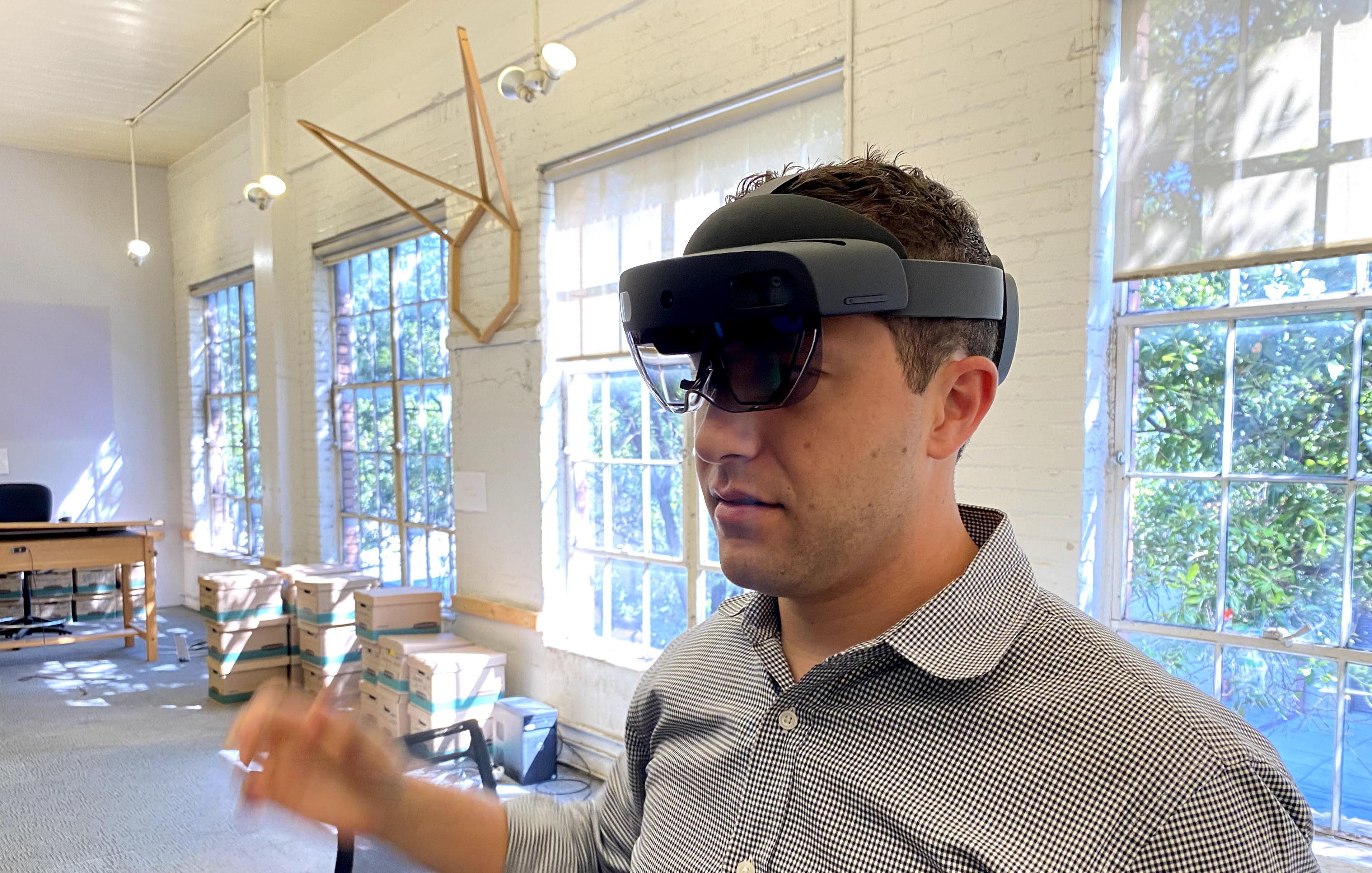 Evan Morris using Microsoft HoloLens 2