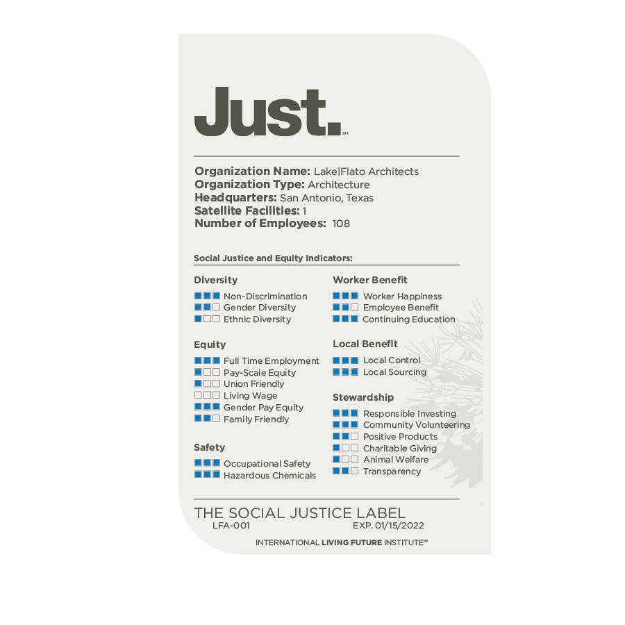 Lake Flato JUST label