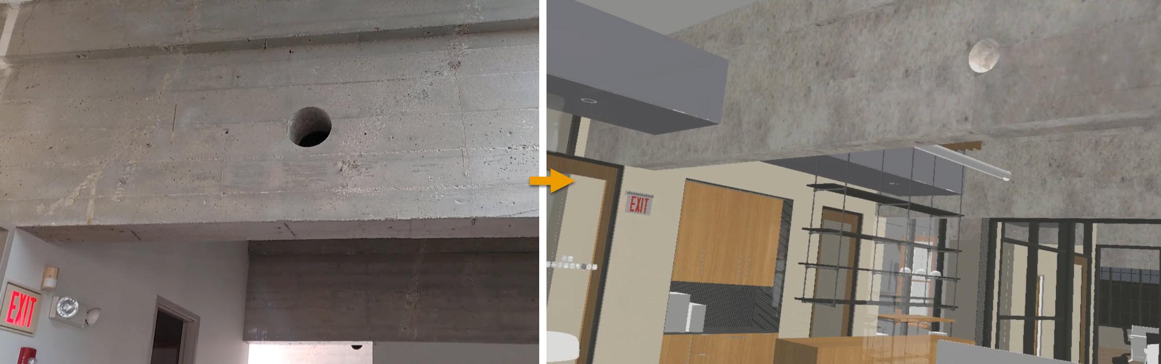 Comparing views, existing concrete beam example
