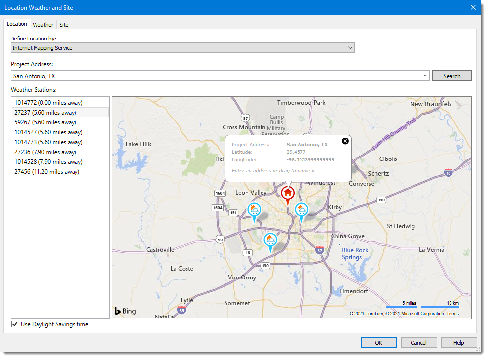Software dialog showing site location and adjacent weather stations