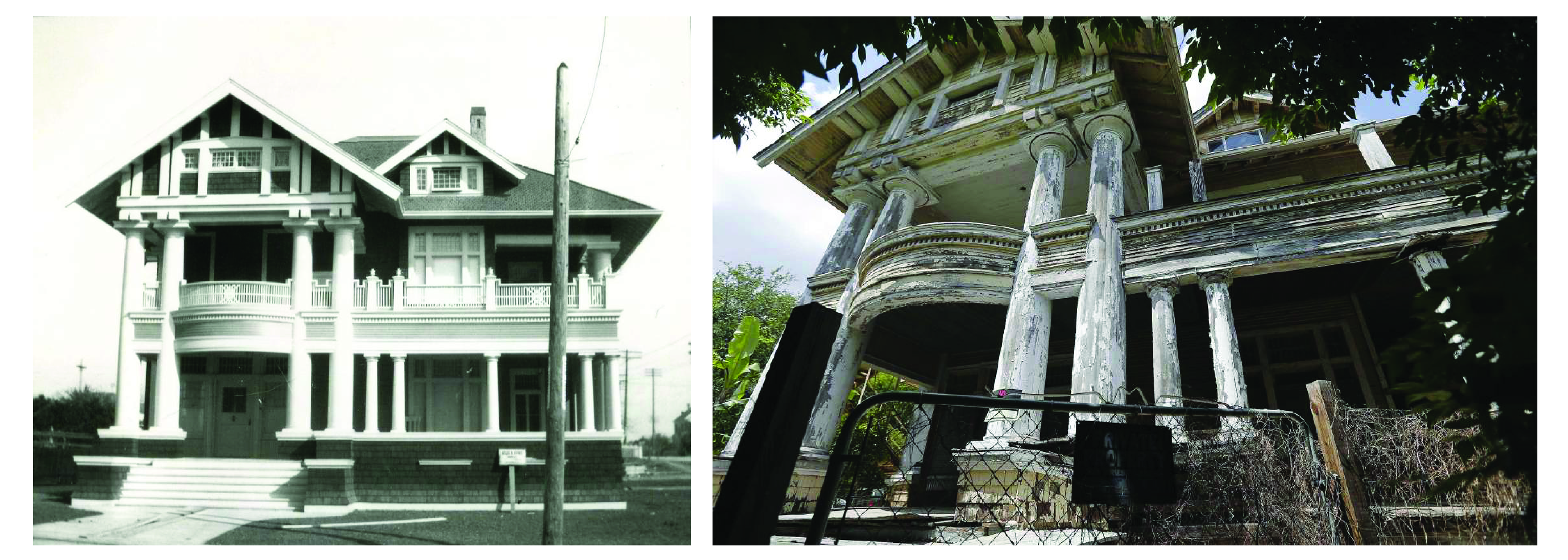 Kelso House 1906 (Credit: Alexander Architectural Archives at the UT Austin)  VS 2019 (Credits: PoP)