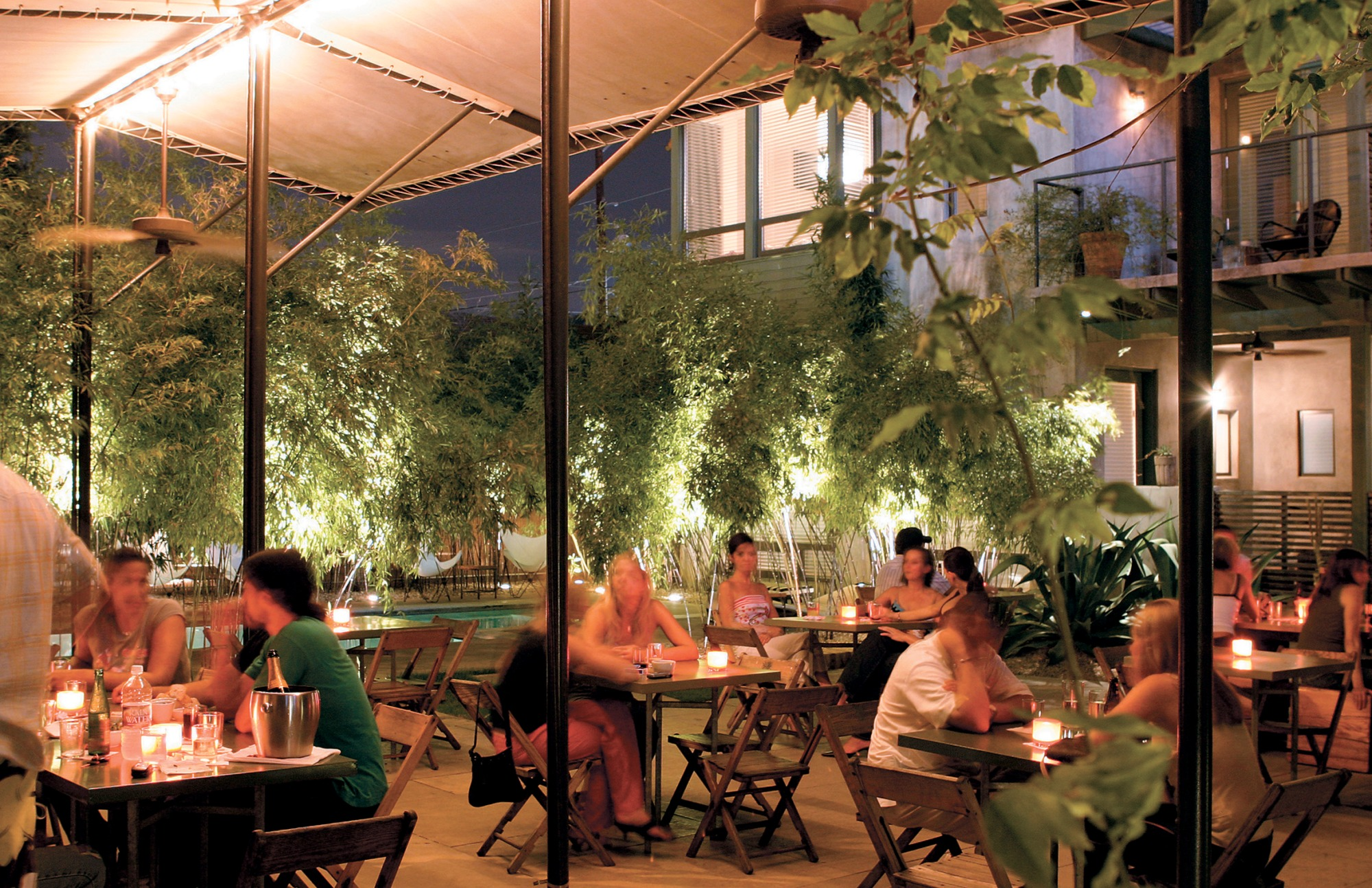 Shaded, landscaped courtyard for dining.