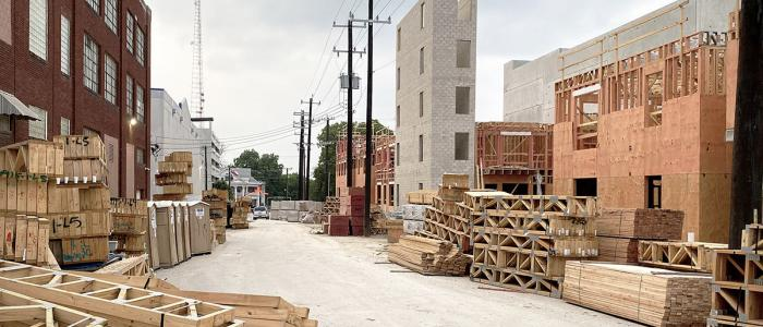 Construction site for mixed income multi-family housing in San Antonio, Texas