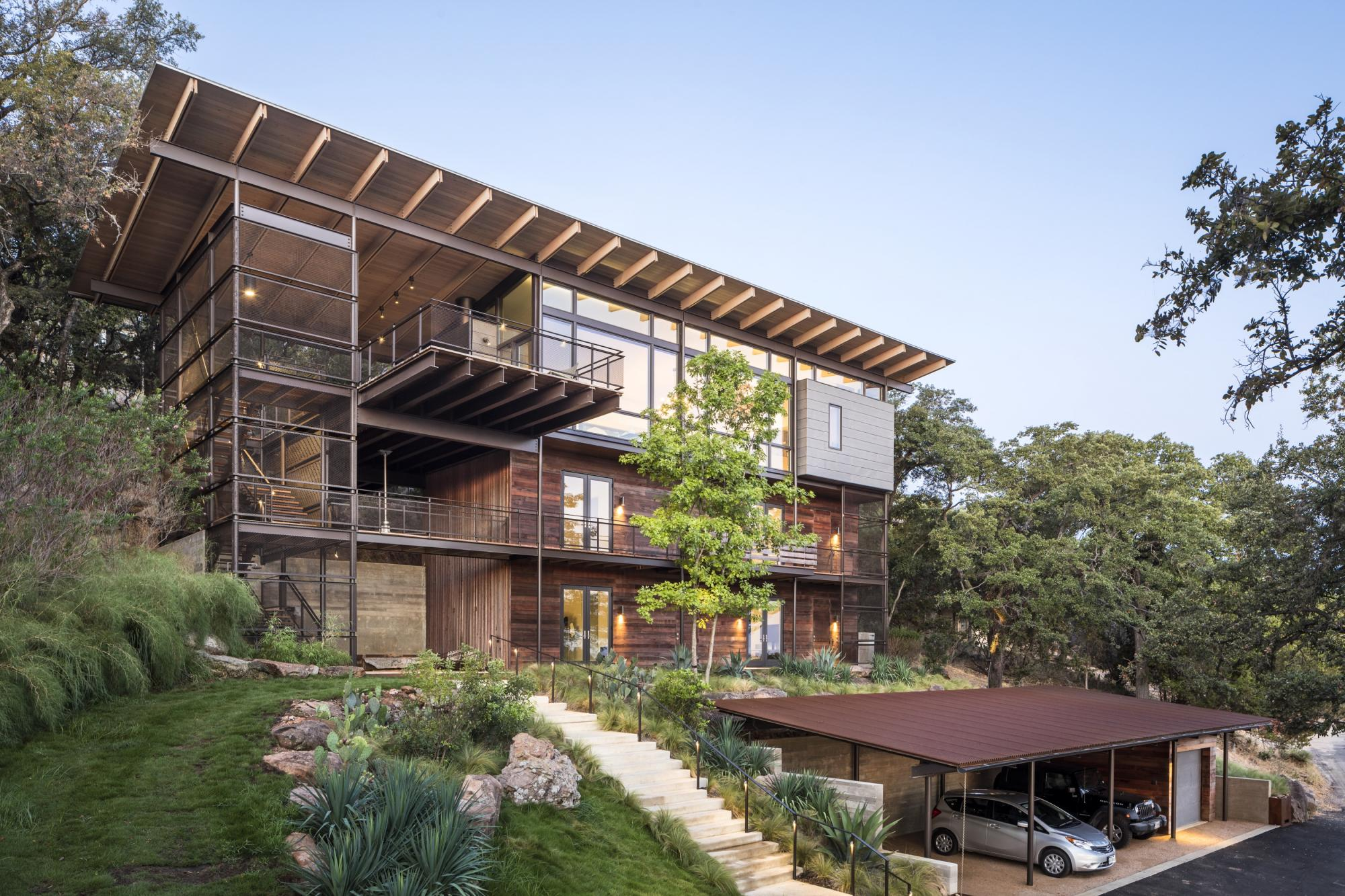 Materials were selected primarily for their durability and deliberately placed in response to sun and wind exposure at each elevation and orientation on the site