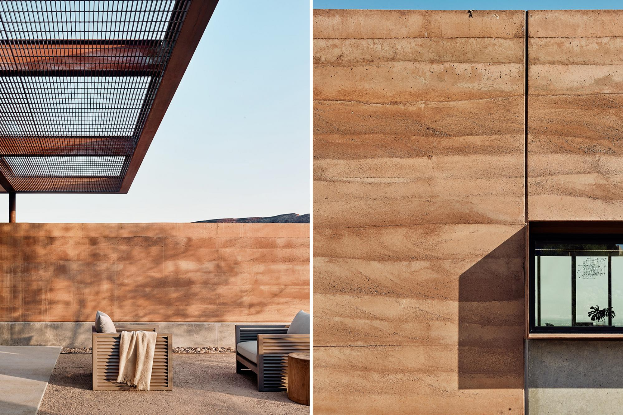 "The 2-0"" thick rammed earth walls are exposed on both sides and extend from the interior into the landscape, connecting indoor spaces to the patios and courtyard"