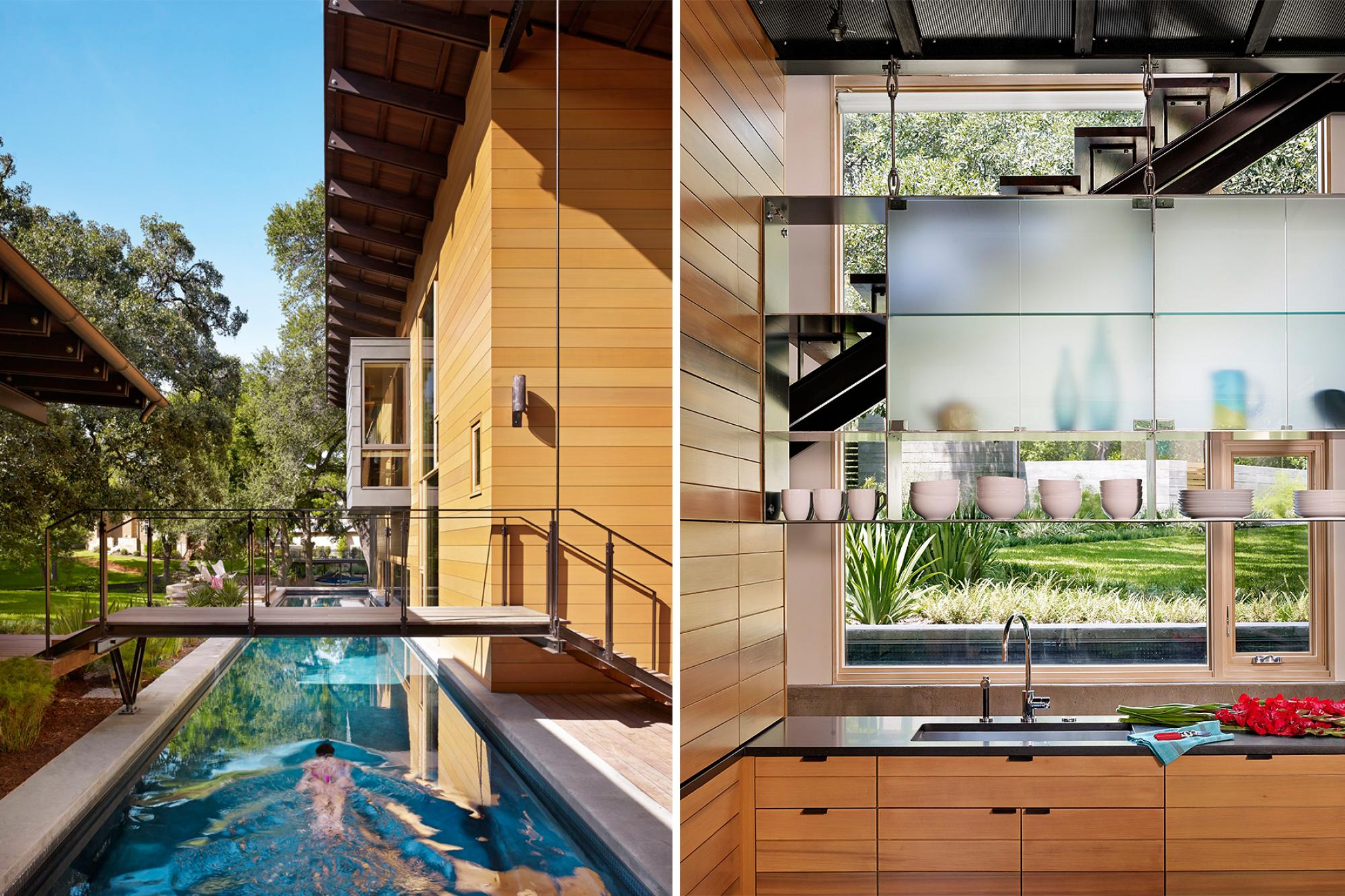 Image of the 75 foot lap pool and view from kitchen looking through the metal and glass shelves out to the pool