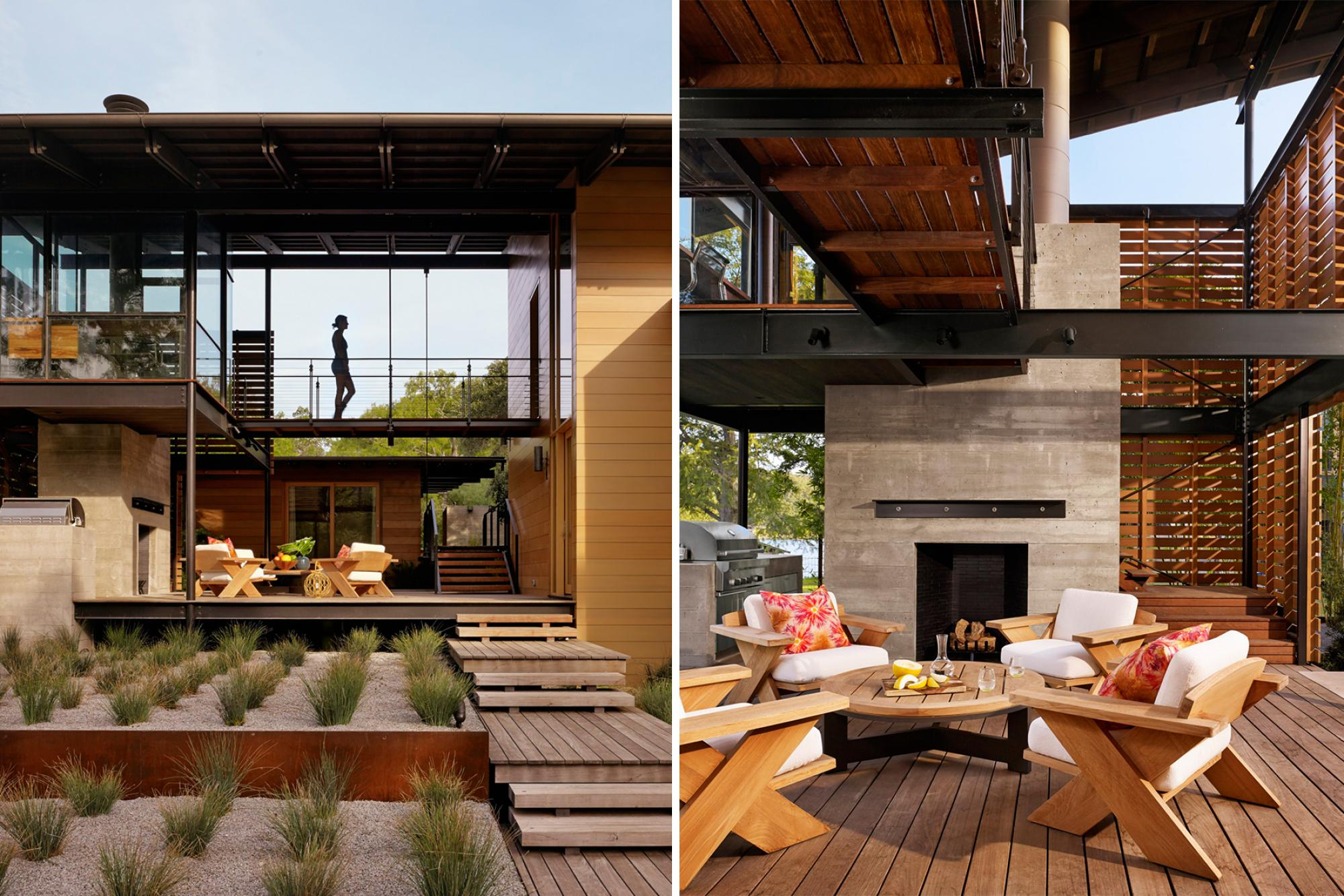 "A two-story living area, with a treetop level master bedroom loft and ""crow's nest"" office, allow the house to be both intimate and social, effortlessly engaging guests and owners"