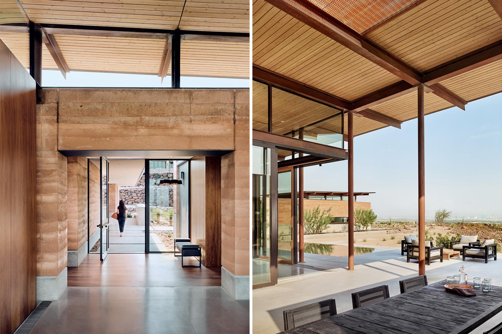 The home's textures, colors and materials blend seamlessly with the surrounding desert.